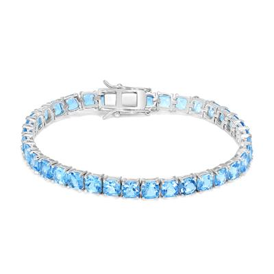 Cushion Swiss Blue Topaz Tennis Bracelet in .925 Sterling Silver