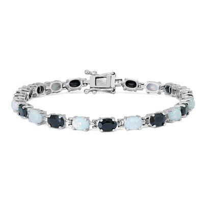 Created Opal and Onyx Bracelet in .925 Sterling Silver