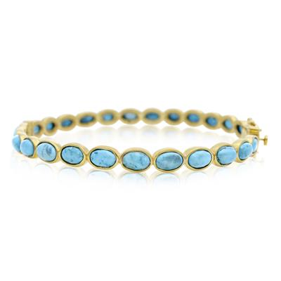 30 Carat Turquoise Bangle Bracelet In 14K Yellow Gold