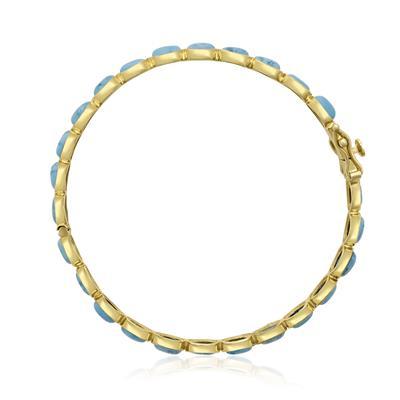 30 Carat Turquoise Bangle Bracelet In 14K Yellow Gold