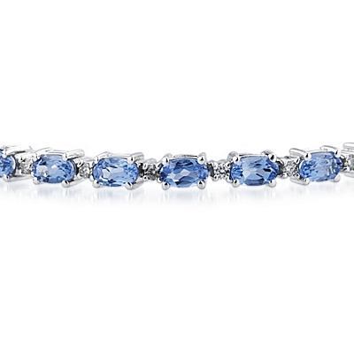 14k White Gold Diamond and  Tanzanite  Bracelet