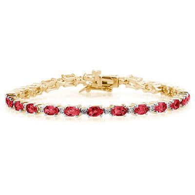14k Yellow  Gold Diamond and  Ruby   Bracelet