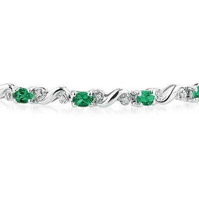10k White Gold Diamond and  Emerald  Bracelet