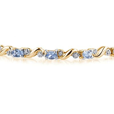 10k Yellow Gold Diamond and Tanzanite Bracelet