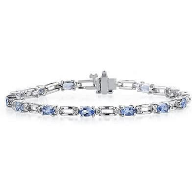 14k White Gold Diamond and  Tanzanite   Bracelet