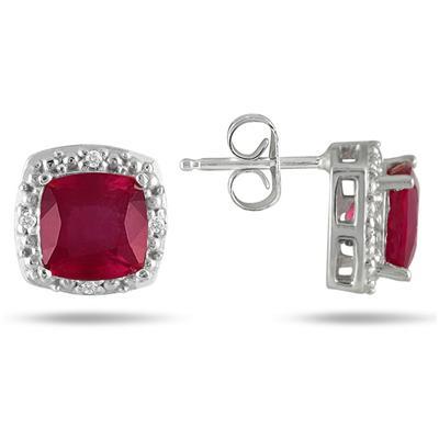 10K White Gold Ruby and 1/10 Carat TDW Diamond Earrings