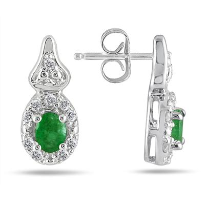 3/8 Carat Emerald and Diamond Earrings in 10K White Gold