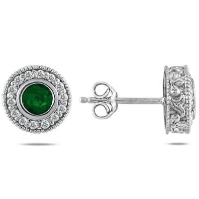 1/3 Carat TW Diamond and Emerald Earrings 10K White Gold