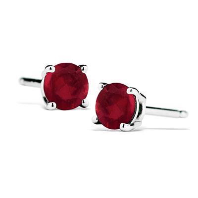 1/2 Carat TW Natural 4MM Ruby Stud Earrings in .925 Sterling Silver