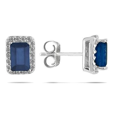 1 1/4 Carat Sapphire and Diamond Earrings in 14K White Gold