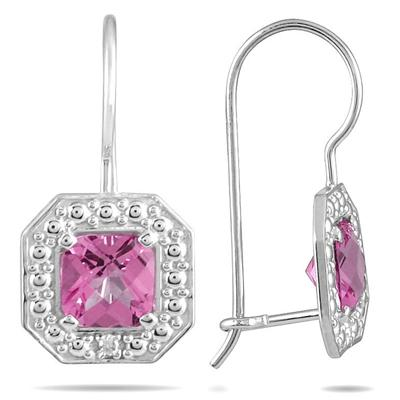 1 3/8 Carat Cushion Cut Pink Topaz and Diamond Earrings in 14K White Gold