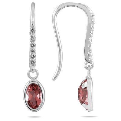 1 1/5 Carat Bezel Set Oval Garnet and Diamond Earrings in 10K White Gold