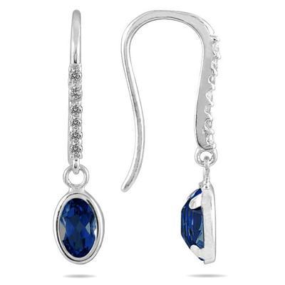 1 1/5 Carat Bezel Set Oval Sapphire and Diamond Earrings in 10K White Gold