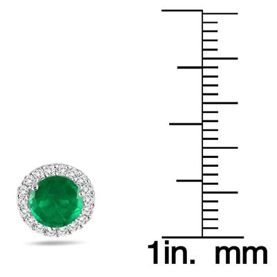 1 Carat Emerald and Diamond Stud Earrings in 14K White Gold