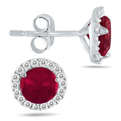 1 Carat Ruby and Diamond Stud Earrings in 14K White Gold