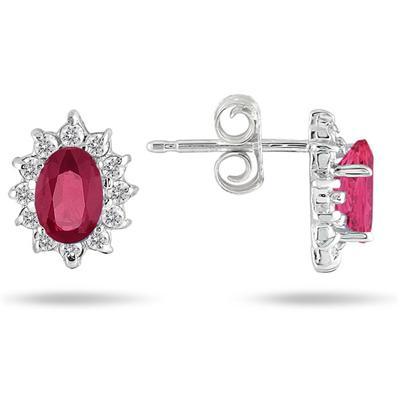 10K White Gold 1/4 Carat TDW Diamond and Genuine Ruby Earrings (I-J, I1-I2)