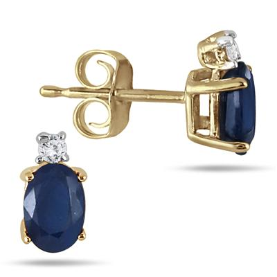 Oval Sapphire Drop and Diamond Earrings in 14K Yellow Gold