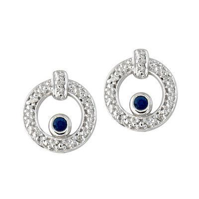 Sapphire and Diamond Earrings 14k White Gold