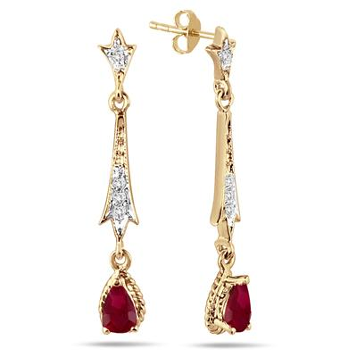 Ruby and Diamond Earrings 14k Yellow Gold