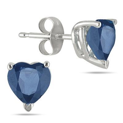1.50 Carat Heart Shaped Sapphire Stud Earrings in .925 Sterling Silver