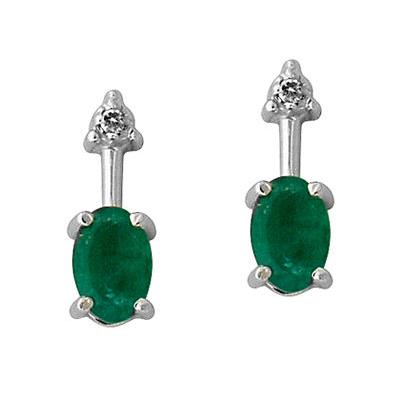 Oval Shaped Emerald and Diamond Earring in 14kt White Gold