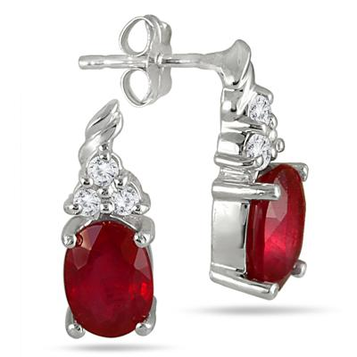 2.40 Carat Oval Ruby and Diamond Earrings in .925 Sterling Silver
