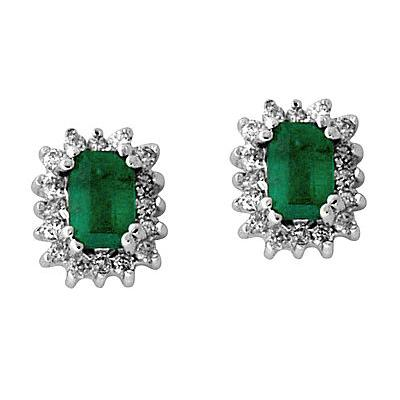 Emerald and Diamond Flower Earrings in 14kt White Gold