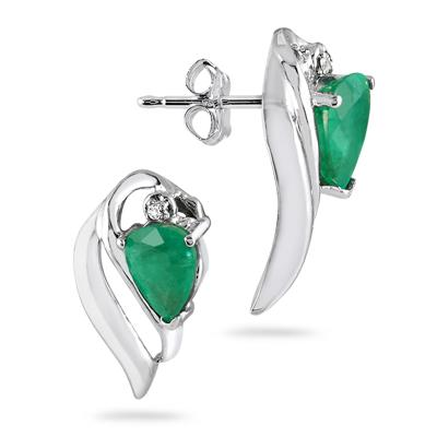 Pear Shape Emerald and Diamond Earrings in 10kt White Gold