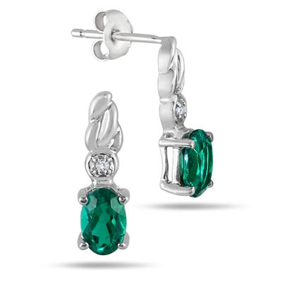 6x4MM Created Emerald and Genuine Diamond Earring in .925 Sterling silver
