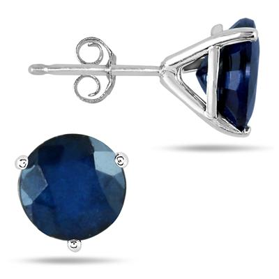 4.50 Carat Natural Sapphire Stud Earrings in .925 Sterling Silver Martini Setting