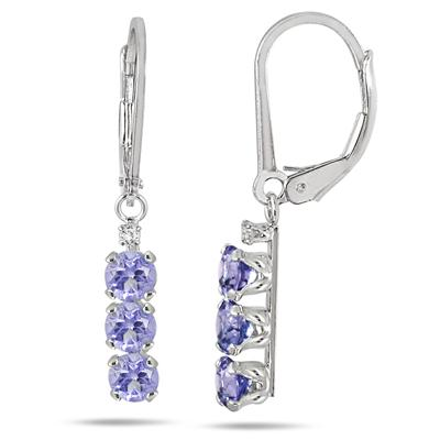 1.50 Carat 3 Stone Tanzanite and Diamond Drop Earrings in .925 Sterling Silver