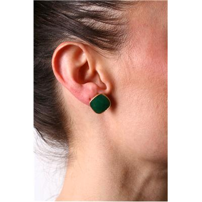 14MM Genuine Cushion Cut Rough Onyx Emerald Stud Earrings in 18K Yellow Gold Plated Sterling Silver