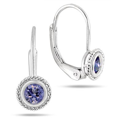 0.40 Carat Bezel Set Round Shape Tanzanite Lever Back Earrings in .925 Sterling Silver