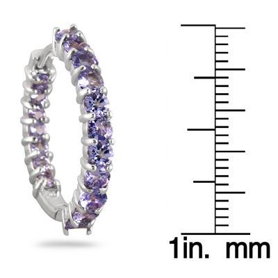 3.25 Carat Round Tanzanite Inside Out Hoop Earrings in .925 Sterling Silver