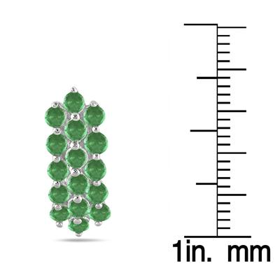 2 Carat All Natural Emerald Cluster Earrings in .925 Sterling Silver