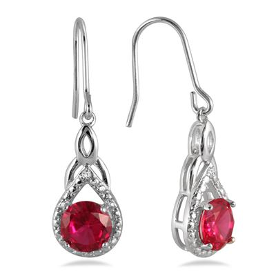 3.00 Carat Created Ruby and Diamond Earrings in .925 Sterling Silver