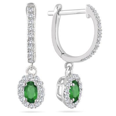 1/2 Carat Emerald and Diamond Halo Dangle Earrings in 10K White Gold