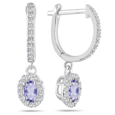 Image result for 1/2 CARAT TANZANITE AND DIAMOND HALO DANGLE EARRINGS IN 10K WHITE GOLD