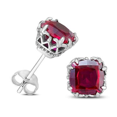 7MM Cushion Cut Lab Ruby Earrings (Sterling Silver)