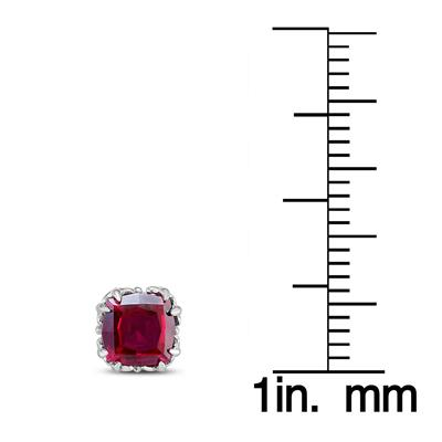 7MM Cushion Cut Lab Ruby Earrings in .925 Sterling Silver