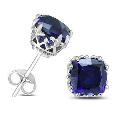 7MM Cushion Cut Lab Blue Sapphire Earrings in .925 Sterling Silver