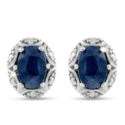 Sapphire and Diamond Halo Stud Earrings In .925 Sterling Silver