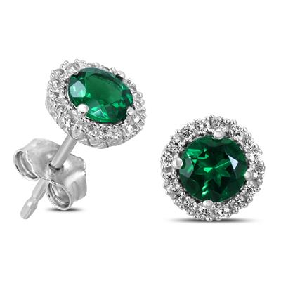 Lab Created Emerald and White Sapphire Halo Earring in .925 Sterling Silver