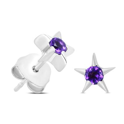 Amethyst Starburst Stud Earrings in .925 Sterling Silver