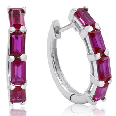 4 1/2 Carat Tw Emerald Cut Lab Created Ruby Hoop Earrings