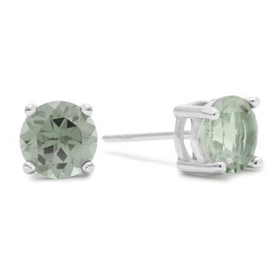 2 Carat Round Green Amethyst Earrings In Sterling Silver