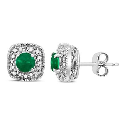 Genuine 4MM Emerald and Diamond Antique Engraved Earrings in .925 Sterling Silver