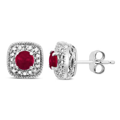 Genuine 4mm Ruby And Diamond Antique Engraved Earrings