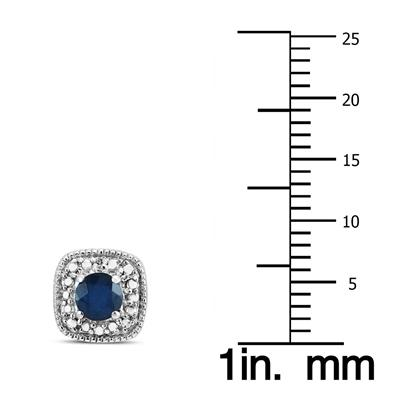 Genuine 4MM Sapphire and Diamond Antique Engraved Earrings in .925 Sterling Silver