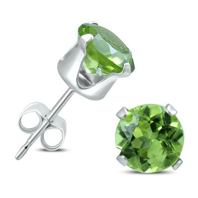 6MM All Natural Round Peridot Stud Earrings in .925 Sterling Silver